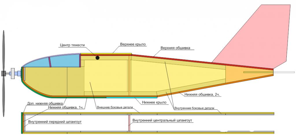 Чертежи самолета ЛМ-2 радиоуправляемого биплана из потолочки.