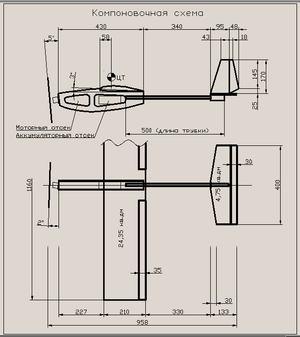 Габаритные размеры самолета