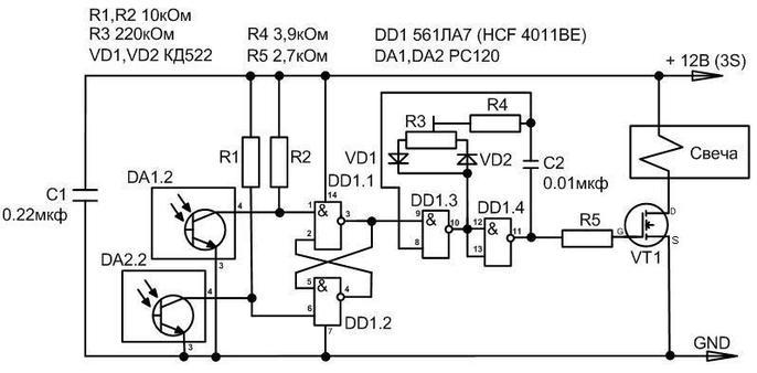Резистором R3 устанавливается